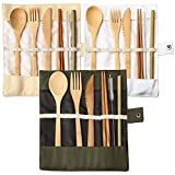 nuoshen 3 Set Bamboo Cutlery Set, Bamboo Travel Utensils Include Knife Fork Spoon Chopsticks Straws