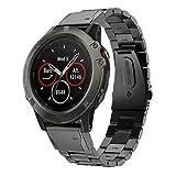 XIHAMA Band per Garmin Fenix 5x, cinturino di ricambio in acciaio INOX Fit/Quick Release, sport fitness Wristband per Garmin Fenix 5x Smart Watch (non adatto per Fenix 5S 5)