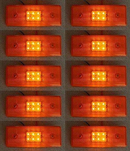 10x arancione 24V Side Outline Marker luci con 6LED rimorchio telaio camion caravan