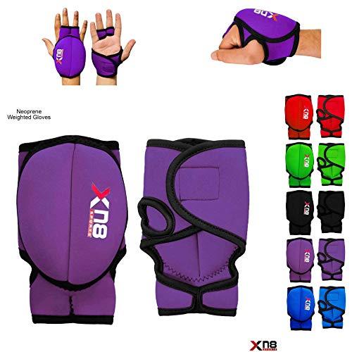 Xn8 Sports - Guanti da Polso in Neoprene per Fitness, 1 kg, Colore: Viola, 1 kg Set = (1 x 2 = 2 = 2...