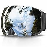 Maschera da Sci, eDriveTech Occhiali Maschera Sci Snowboard Neve Specchio per Uomo Donna Adulto Ragazzo Ragazza Antinebbia Antivento Occhiale Maschere da Sci Anti-UV OTG Magnetica Sferica Lente (Nero Cornice/Argento Lente)