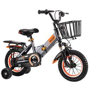 Qazxsw Bicicleta Niño de los niños y de la Muchacha Ciclismo Bicicletas 2-6 años viajan niños al Aire Libre Amortiguador de Bicicletas Plegables con Altura Ajustable,Gris,18inches
