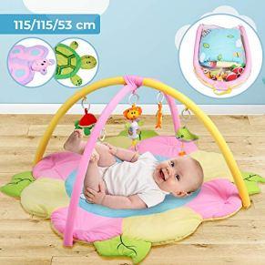 Alfombrilla de Actividades para Bebés - Elección de Tamaño y Diseñocon, 5 juguetes Colgantes Extraíbles - Manta…