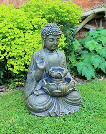 Home Hut Buda Fuente de Agua Fuente de jardín Adorno Decoración al Aire Libre LED Bronce 50 cm 3