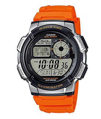 Casio Collection AE-1000W-4BVEF, Orologio con Luce LED da Uomo, Multicolore/ Arancione