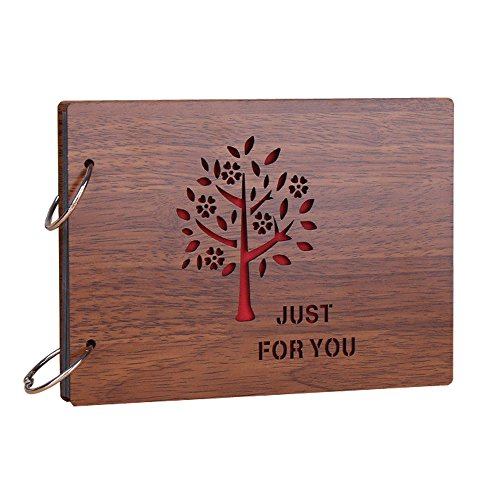Sehaz Artworks 'Just for You' Wood Pasted Photo Album (22 cm x 16 cm x 4 cm, Brown)