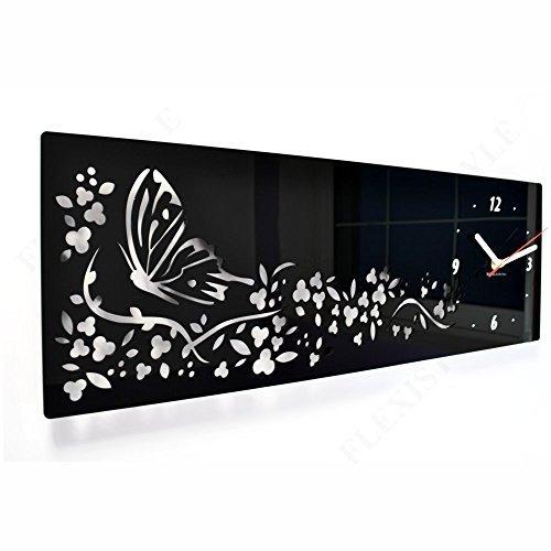 Orologio da parete moderno orizzontale Farfalla in Fiori 20 x 60 cm salotto decorativo silenzioso 3 d