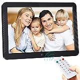 Digitaler Bilderrahmen 8 Zoll Elektronischer Fotorahmen 1920 * 1080 IPS Display Mit automatischer Drehung, Fernbedienung,Steckplätzen für MP3 /HD-Videoplayer/Kalender/Wecker,USB und SD-Karten