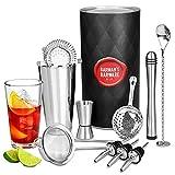 Premium barman cocktails kit , avec 10 accessoires (Pilon de cocktail, dozeur d'alchool,dozeur de bouteille, cuillère cocktail torsadée, verre a melange,Shaker Boston , passoire)
