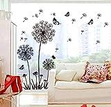 ufengke® Schwarze Löwenzahn und Schmetterlinge Fliegen im Wind Wandsticker, Wohnzimmer Schlafzimmer Entfernbare Wandtattoos Wandbilder