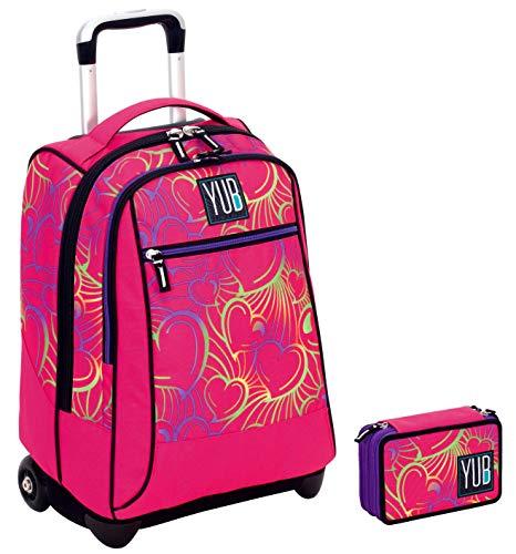 YUB Trolley Portapenne 3 Zip con contenuto - Rosa - Scuola elementari e medie & Viaggio 34 LT