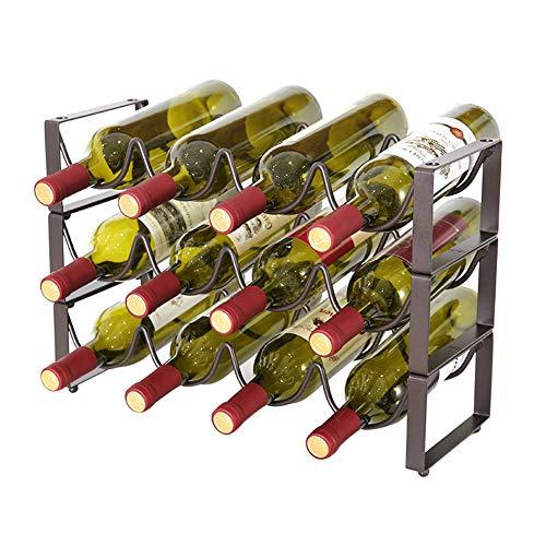 JINRU Portabottiglie Impilabile A 3 Piani, Supporto per Ripiani Portabottiglie per Vino - Contiene...