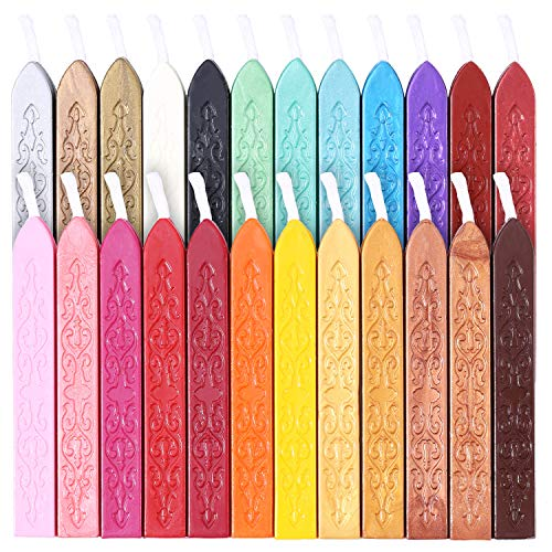 24 Stücke Siegelwachs Sticks mit Docht für Wachs Siegel Stempel Antikes Feuer Manuskript Briefmarken Buchstaben, 24 Farben
