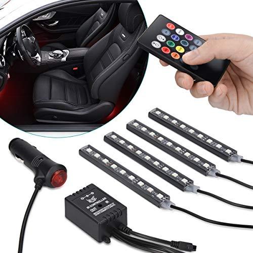 Navaris Luci LED Interni Auto - 4 Strisce LED Cambio Colori 12V RGB con Telecomando - Illuminazione...