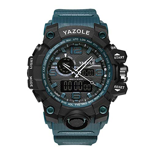 Sportiva da uomo, analogico digitale al quarzo militare orologio impermeabile multifunzionale grande quadrante orologio da polso (Blue)