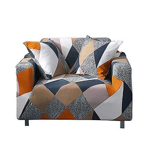 HALOVIE Copridivano Elasticizzato, Copertura Divano Sofa Protezione Universale Decorativa per Divani a 1 Posto (90-140cm) con 1 Fodera per Cuscino 45 * 45 cm