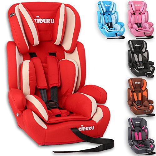 KIDUKU Seggiolino auto, cresce con il bambino, sedile, universale, approvato con la normativa ECE R44 / 04, 9-36 kg (1-12 anni), gruppo 1+2+3 (Rosso/Bianco)
