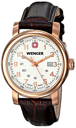 Wenger Damen-Armbanduhr XS URBAN Classic PVD Analog Quarz Leder 01.1021.108
