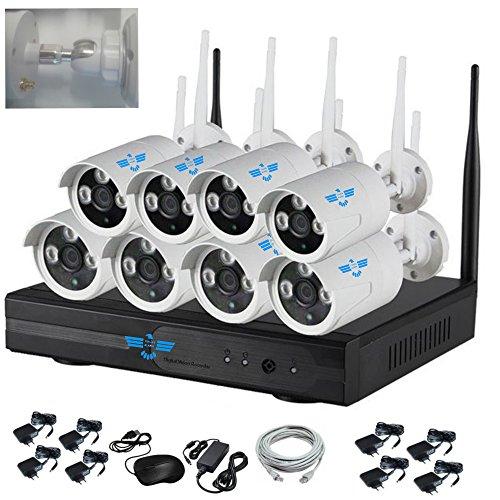 ITALIAN ALARM Kit 8 Telecamere wireless WiFi videosorveglianza esterno senza fili IP66, APP Android/IOS, Visione Notturna, Antenne NVR removibili, portata 50 mt senza muri, assistenza in ITALIANO