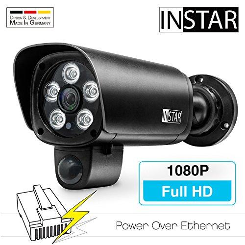 INSTAR IN-9008 Full HD (PoE) schwarz - PoE Überwachungskamera - IP Kamera - wetterfeste Außenkamera - Aussen - Alarm - PIR - Bewegungserkennung - Nachtsicht - Weitwinkel - 802.3af - ONVIF