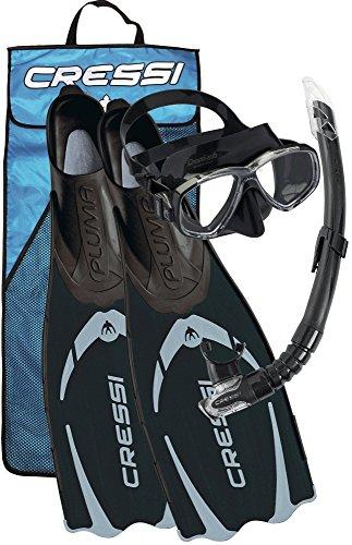 Cressi Pluma Bag Premium Set per Snorkeling e Immersioni, Unisex - Adulto, Nero/Argento, 43/44