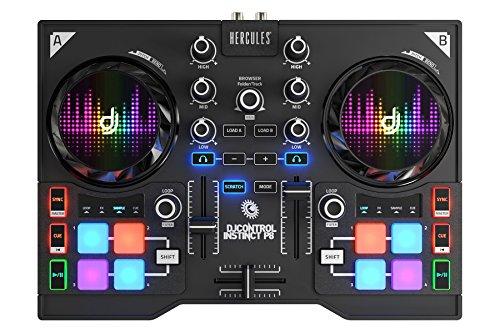 DJ Hercules DJ Control Instinct P8 - Mesa Mezclas DJ [ultraportátil con 8 Pads de Samples y Salidas de Audio para Usar con Auriculares y Altavoces]