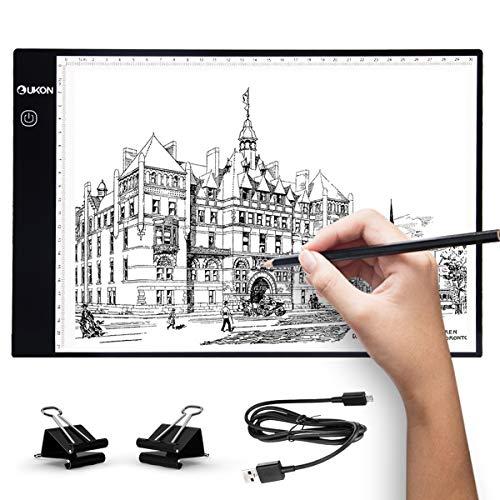 UKON A4 LED Tavoletta Luminosa per Disegno,Ultra-Sottile Light Board Tavolette Disegno Tracing Pad...