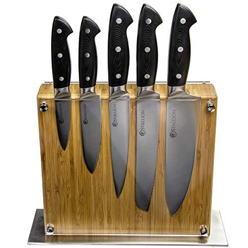 Messerset mit Messerblock Stallion 6-teilig - Klingen aus deutschem 1.4116 Messerstahl und Griff aus GFK