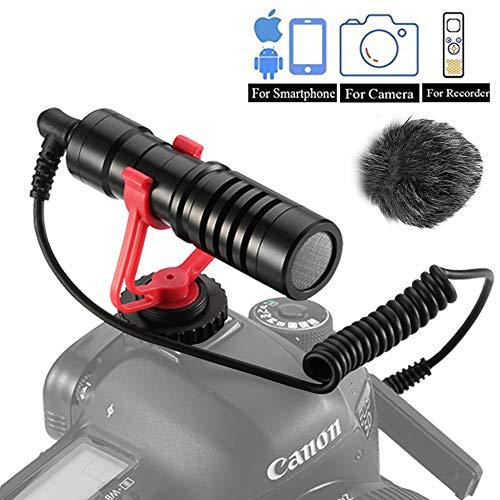 Dazzne VideoMicro Microfono Compatto per fotocamere Sony/Canon/Nikon/Pentax DSLR Videocamere,Mac Tablet iPhone/Smartphone Android, Registrazione Youtube/Intervista