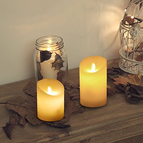 liqoo lot de 3 bougies led eclairage avec t l commande et minuteur cire v ritable flamme. Black Bedroom Furniture Sets. Home Design Ideas