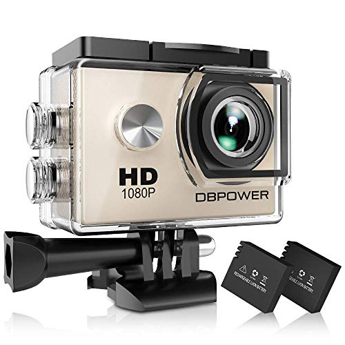 DBPOWER Action Camera impermeabile 1080P HD 12MP KIT 2 Batterie ed accessoristica varia (Argento)