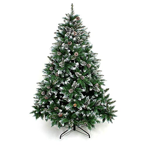 Yorbay Albero di Natale, Pino Artificiale ricoperto da Neve e Decorato da pigne, Materiale PVC + PP + Ferro, Dimensione da 120cm a 240cm (180 cm)