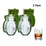 MIMINUO 3D Grenade Forme Ice Cube Moule,Moule à gâteau en silicone,machine à glaçons en formes pour glace de whisky et cocktails (2 Pack)