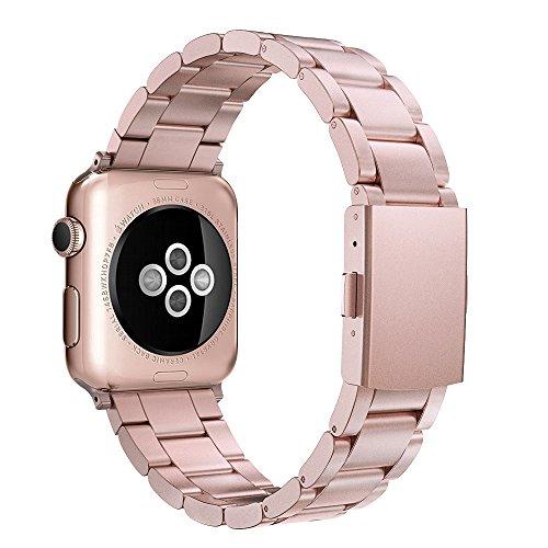 Simpeak Cinturino Sostituzione Compatible per Apple Watch 38mm 40mm in Acciaio Inossidabile,Cinghia di Polso,Fibbia Apple Watch 40mm 38mm di Series 1/2/3/4 Versione 2015 2016 2017 2018,Rosa Oro