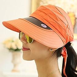 Summer, Ladies, Hats, Empty Tops, Cycling, Sun Hats, Outdoor,Orange