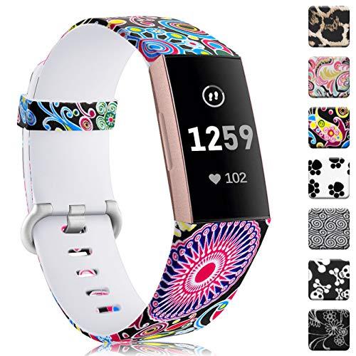 Zekapu Cinturino Compatibile per Fitbit Charge 3 e Charge 3 SE, Impermeabile Resistente Senza Fadle Modello Stampato Cinghie in Silicone Accessori Braccialetti, Grandi Donne Piccole Uomini