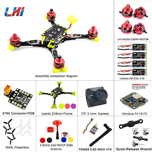 LHI 218mm Mantis218 2019 Ultimo Quad Race ARF 218mm Carbonio + Omnibus F4 V5 Flight Controller DX2205 2300KV Engine + Littlebee 20A ESC FPV Quadcopter Upgrade Version 220