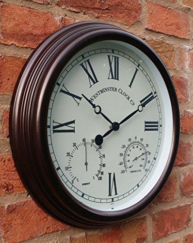 Orologio da parete da esterno con temperatura e umidità numeri romani - 38 cm