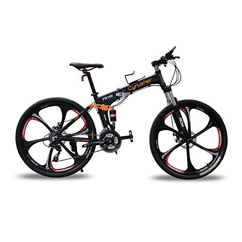 Cyrusher-FR100-Vlo-pliable-Shimano-M310-Altus-pour-homme-avec-suspension-complte-24-vitesses-cadre-en-aluminium-et-freins--disques-Noir-17-x-26