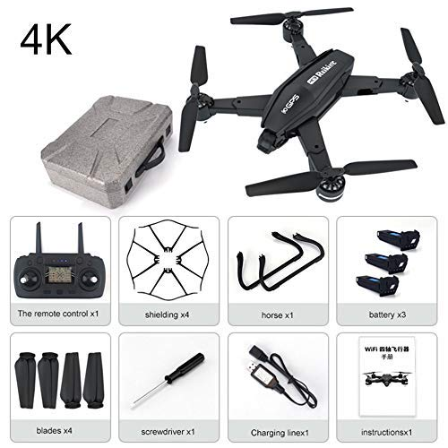 JohnnyLuLu Drone RC RC R3 5G con FPV WiFi 4K HD 110 ° Telecamera grandangolare 2.4 GHz Quadricottero con Telecomando con Motore a Tazza Cava ad Alta velocità, Doppio Posizionamento GPS, Smart Follow