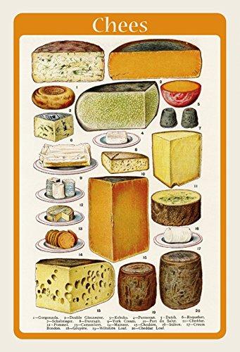 Targa in Metallo generica 20 x 30 cm Poster Lavagna Cheese panoramica Formaggio varietà Cucina...