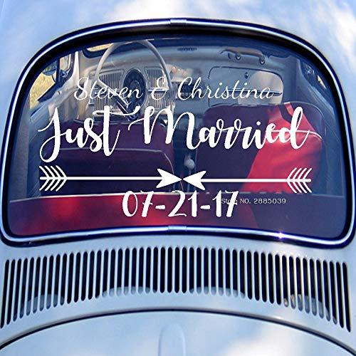 YSHUO Adesivo da Parete Adesivo per Finestra Posteriore per Auto Just MarriedDecalcomanie per...