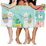 Toallas Decoradas Con Llamas y Cactus De Colores