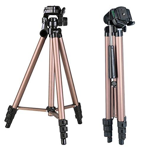 K&F Concept TL2023 Leicht Reise Stativ Kamera Einsteiger-Dreibeinstativ mit 3-Wege-Schwenkkopf und Wasserwaage (42-125cm Höhe, Tragfähigkeit 3 Kg)