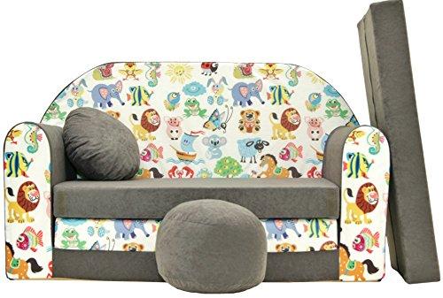 PRO COSMO A5Bambini Divano Letto con Pouf/poggiapiedi/Cuscino, Tessuto, Multicolore, 168x 98x 60cm