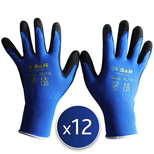 S&R Guanti da Lavoro BASIC 12 Paia in polisetere con rivestimento in PU. Guanti di Protezione contro...