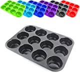 Belmalia Silikon Muffinform für 12 Muffins, Muffinblech, antihaftbeschichtet, Cupcakes, Brownies, Kuchen, Pudding in Schwarz