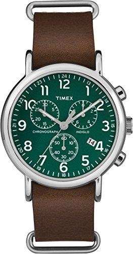 Timex Unisex Erwachsene Chronograph Quarz Uhr mit Leder Armband TW2P97400