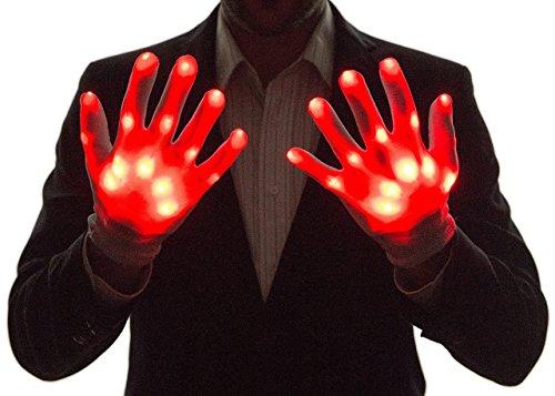 NEON NIGHTLIFE Light Up Guanti del Ragazzo, LED, Rosso