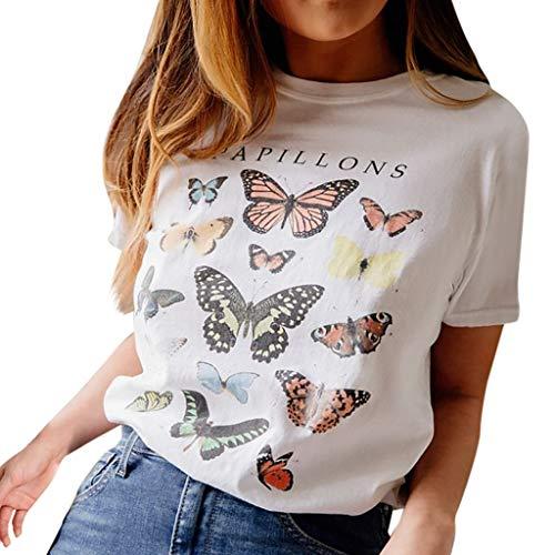 Blusas de Mujer Fiesta, MINXINWY Moda Verano Camiseta de Baile Camisetas de Manga Corta Blanco Camiseta de Mujer Salvaje Casual Camiseta Estampado de Mariposa Camisas